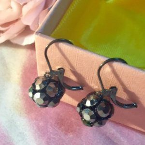 Silver and Black Pierced Earrings